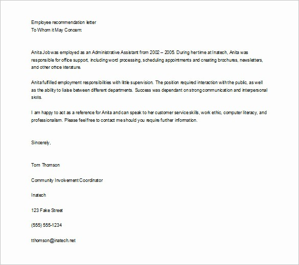 Reference Letter for Employee Template Inspirational 10 Job Re Mendation Letter Templates Doc