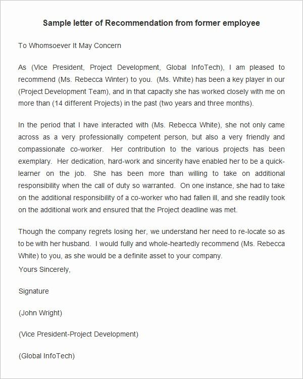employee re mendation letter