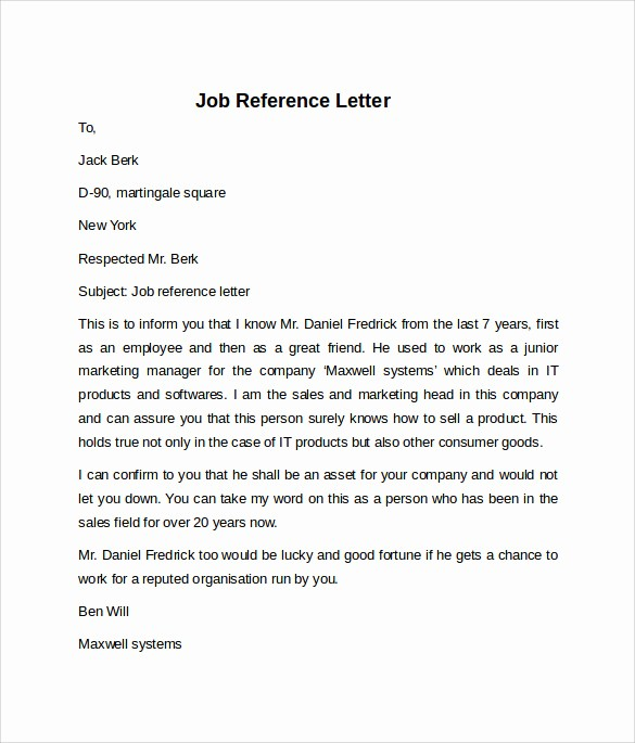 Reference Letter for Employment Samples Elegant 8 Job Reference Letters – Samples Examples & formats