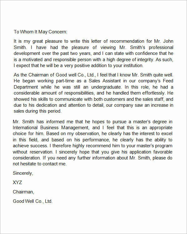 Reference Letter for Employment Samples Inspirational 15 Sample Re Mendation Letters for Employment In Word