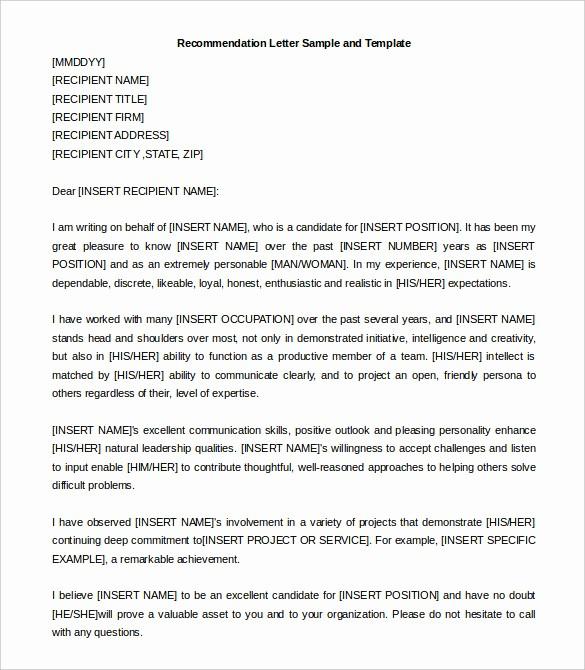 Reference Letter for Employment Samples Inspirational 30 Re Mendation Letter Templates Pdf Doc