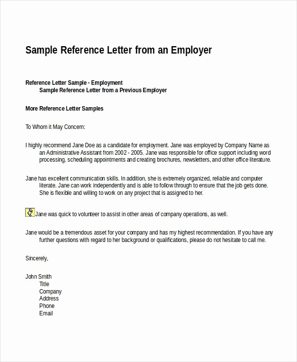 Reference Letter for Employment Samples New 18 Reference Letter Template Free Sample Example