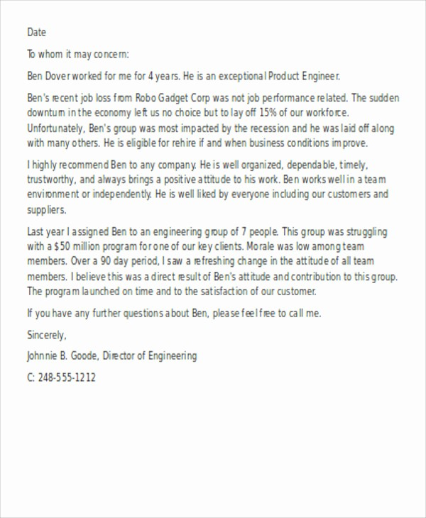 Reference Letter for Employment Template Awesome 13 Employee Reference Letters Free Samples Examples
