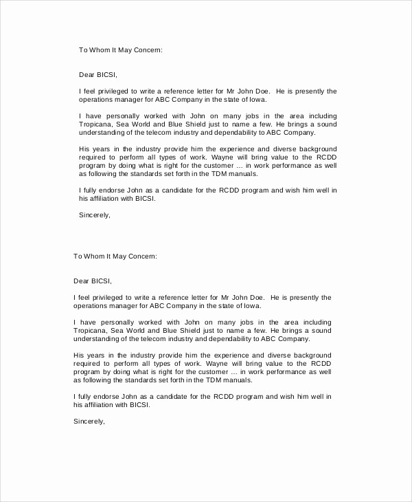 Reference Letter for Employment Template Inspirational 8 Sample Employment Reference Letters