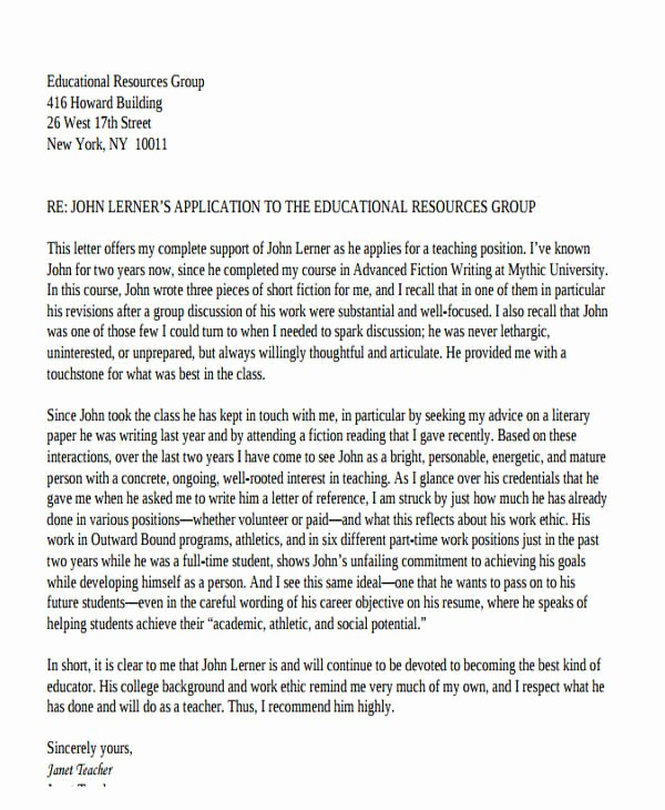 Reference Letter for Teaching Job Inspirational 49 Examples Of Reference Letters