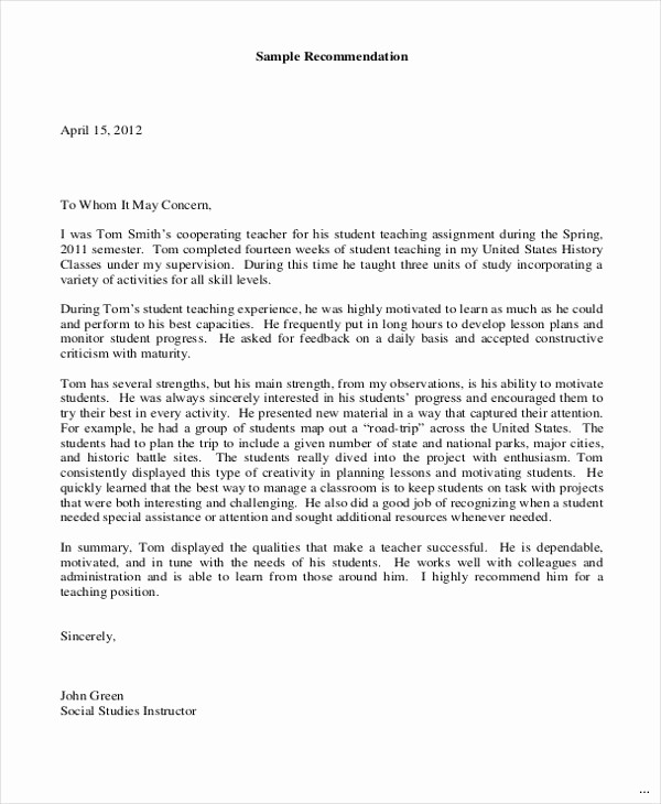 Reference Letter for Teaching Job Inspirational Letter Re Mendation for A Teaching Position Sample