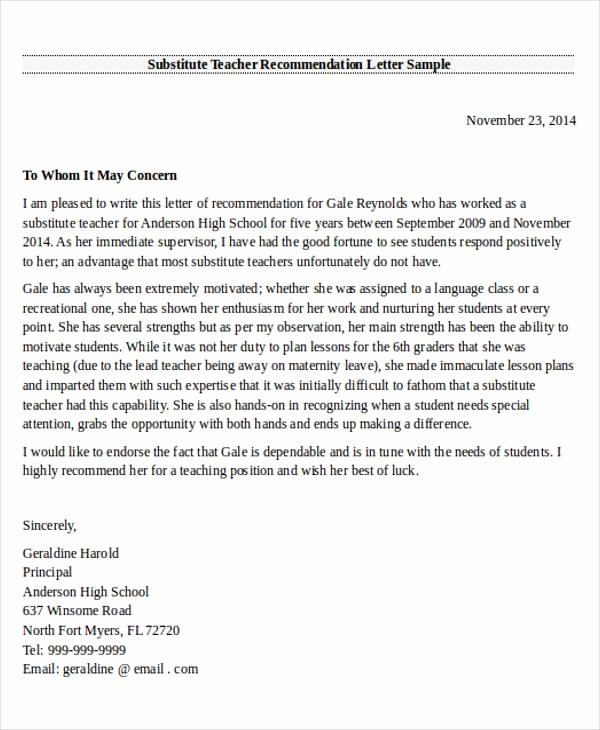 Reference Letter for Teaching Job Unique 28 Re Mendation Letter Examples