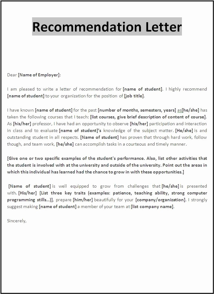 Reference Letter for Teaching Job Unique Re Mendation Letter Sample for Employment as A Teacher