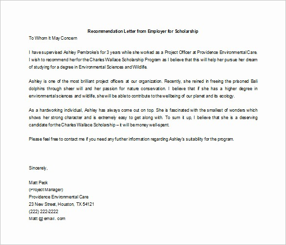 Reference Letter From Employer Doc Awesome 6 Letters Of Re Mendation for Scholarship Word Excel
