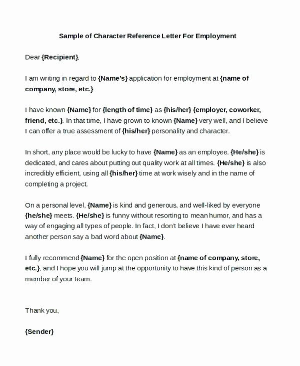 Reference Letter From Employer Doc Beautiful Sample Re Mendation Letter for Employment Doc