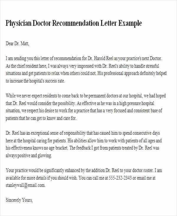 Reference Letter From Employer Doc Elegant 6 Sample Physician Re Mendation Letters