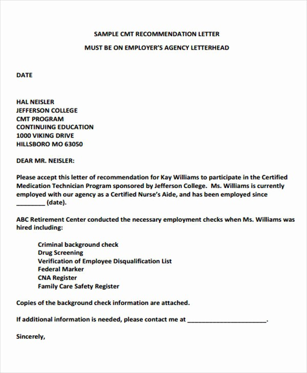 Reference Letter From Employer Doc Luxury 9 Employer Re Mendation Letter Samples