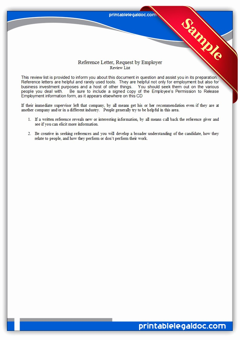 Reference Letter From Employer Doc Unique Free Printable Reference Letter Request by Employer form