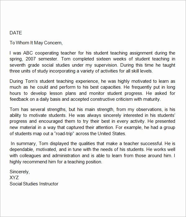 Reference Letter Sample for Teacher Elegant Sample Letters Of Re Mendation for Teacher 12