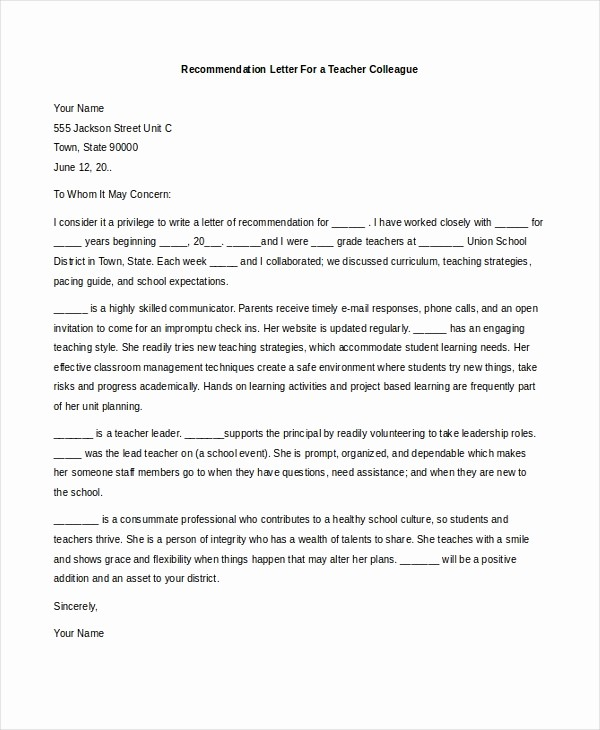 Reference Letter Sample for Teacher Elegant Sample Teacher Re Mendation Letter 8 Free Documents