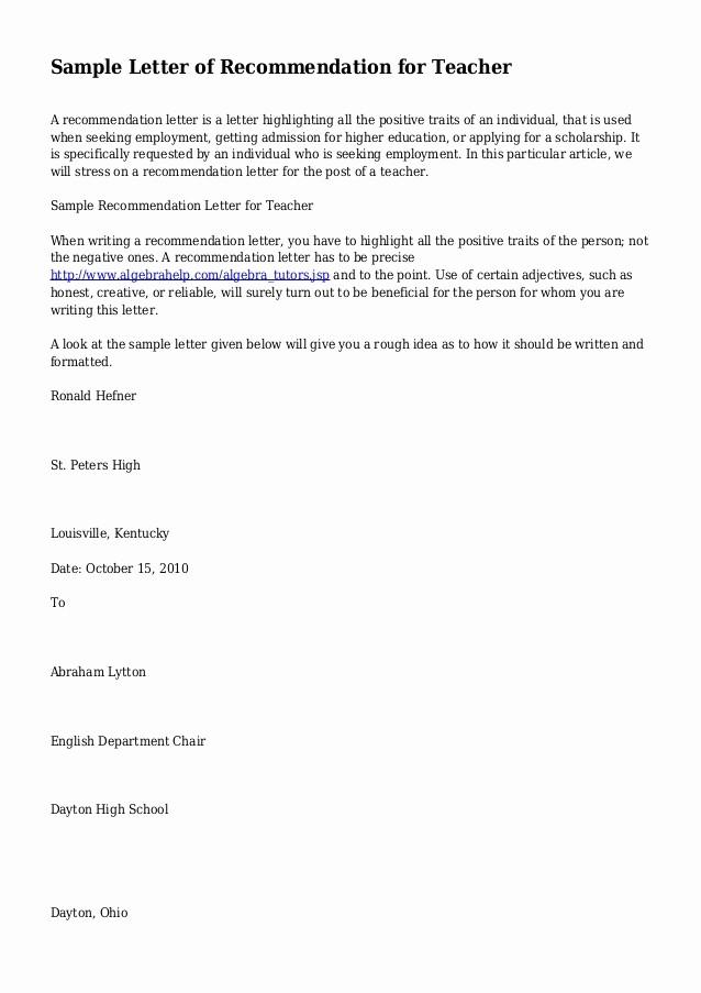 Reference Letter Sample for Teacher Inspirational Sample Letter Of Re Mendation for Teacher
