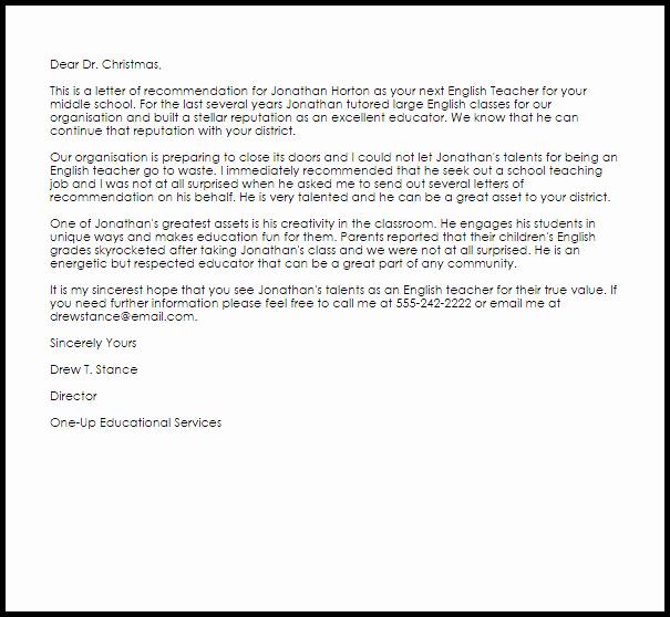Reference Letter Sample for Teacher Lovely English Teacher Re Mendation Letter Example