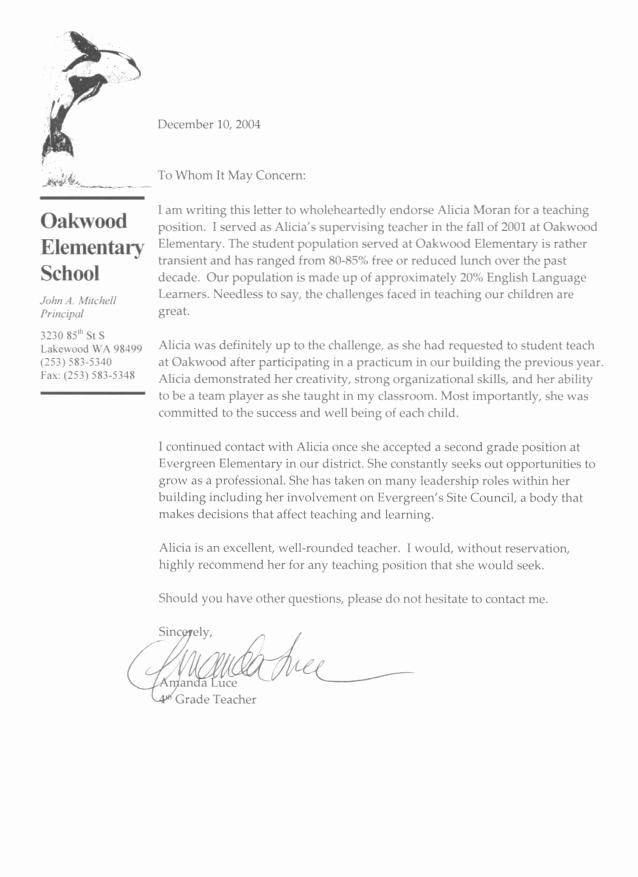 Reference Letter Sample for Teacher Lovely Re Mendation Letter Sample for Teaching Position