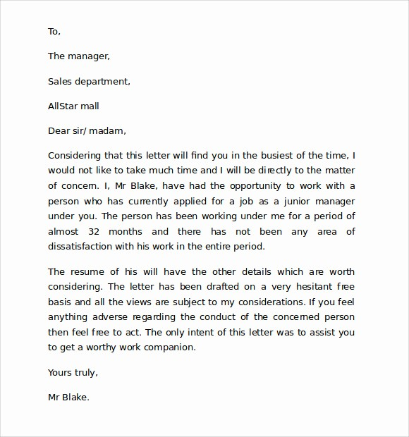 Reference Letter Sample for Teacher Luxury 10 Reference Letter format Download for Free