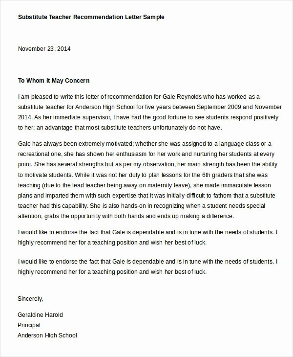 Reference Letter Sample for Teacher Unique Reference Letter Examples 29 Free Word Pdf Documents