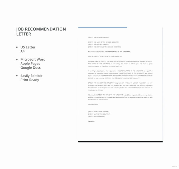 Reference Letter Template for Job Awesome 6 Job Re Mendation Letters Free Sample Example