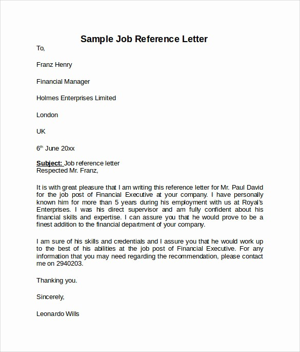 Reference Letter Template for Job Beautiful 8 Job Reference Letters – Samples Examples & formats