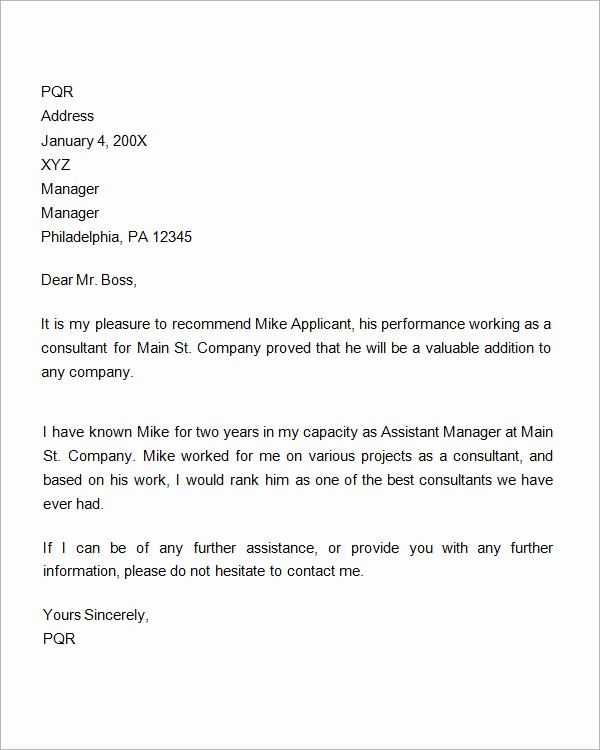 Reference Letter Template for Job Best Of Re Mendation Letter for Permanent Residency Application
