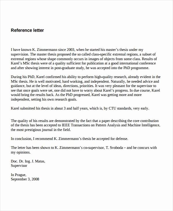 Reference Letter Template for Job Elegant 7 Job Reference Letter Templates Free Sample Example