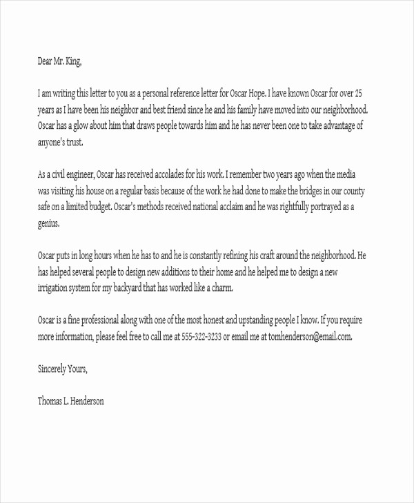 Reference Letter Template for Job Fresh Job Reference Letter Templates 11 Free Word Pdf format
