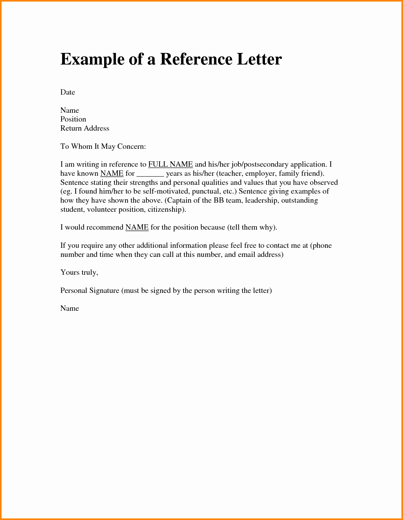 Reference Letter Template for Job Inspirational How to Write A Re Mendation Letter for Job Application