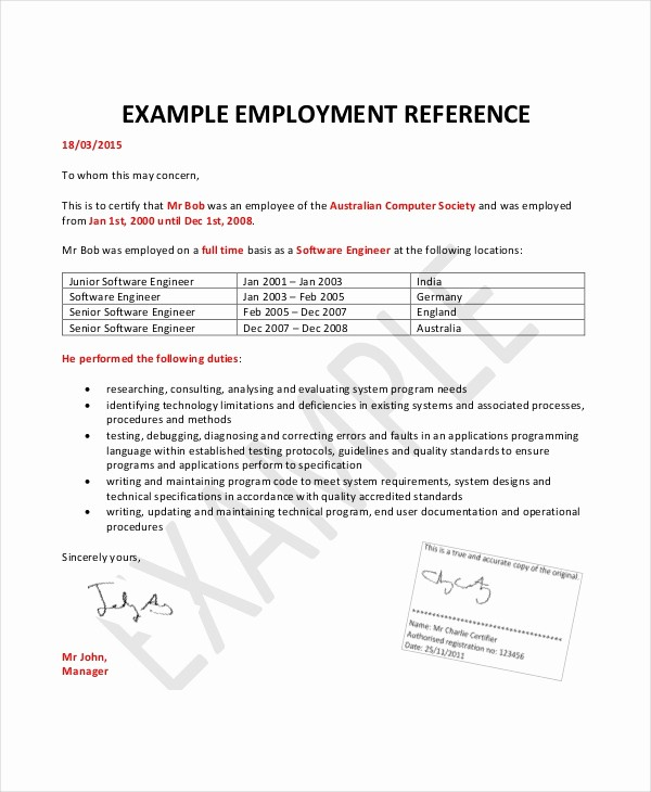 Reference Letter Template for Job Lovely Employment Reference Letter 8 Free Word Excel Pdf