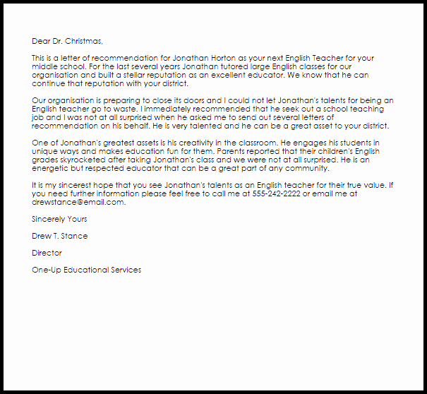 Reference Letter Template for Teacher Awesome English Teacher Re Mendation Letter Example