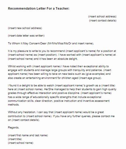 Reference Letter Template for Teacher Fresh Re Mendation Letter for A Teacher Sample