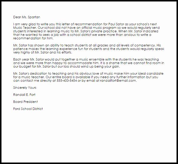 Reference Letter Template for Teacher Inspirational Music Teacher Re Mendation Letter Example