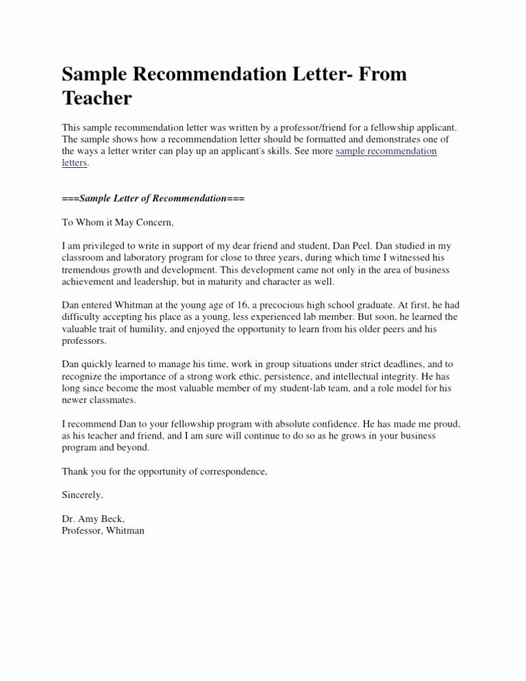 Reference Letter Template for Teacher Lovely Letter for Student Scholarship Sample Short Re Mendation