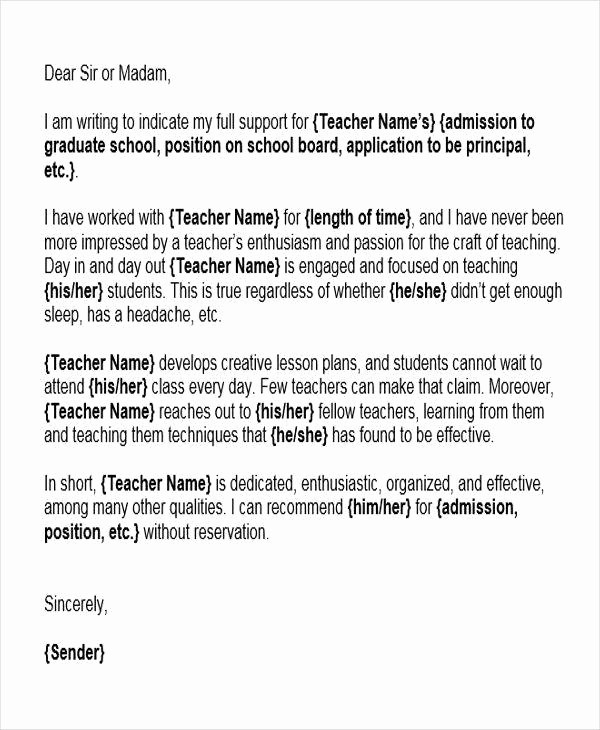 Reference Letter Template for Teacher Luxury 6 Reference Letter for Teachers