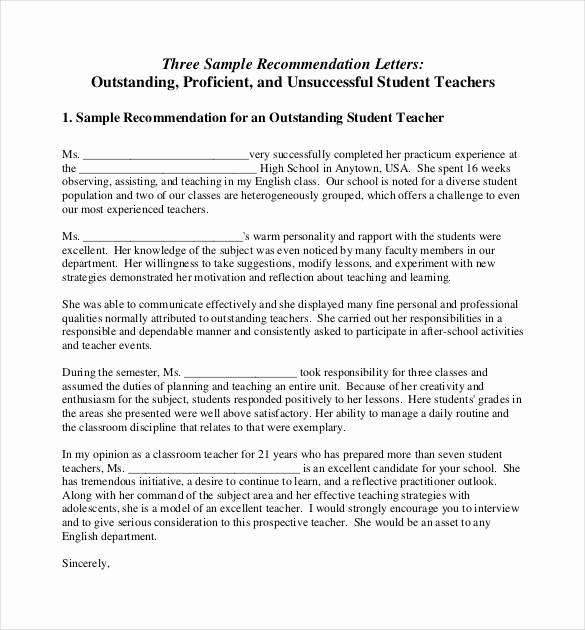 Reference Letter Template for Teacher New 28 Letters Of Re Mendation for Teacher Pdf Doc