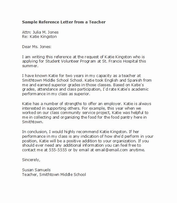 Reference Letter Template for Teacher New 50 Amazing Re Mendation Letters for Student From Teacher