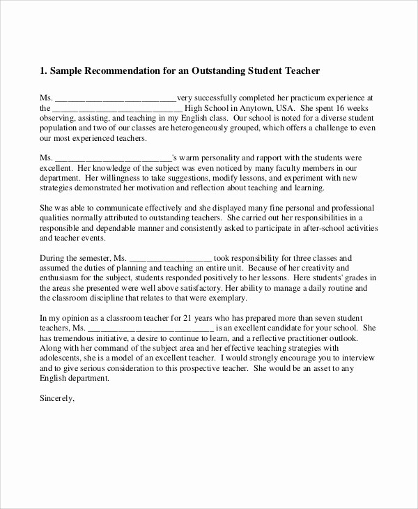 Reference Letter Template for Teacher Unique 8 Sample Teacher Re Mendation Letters