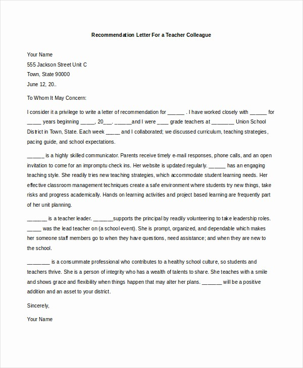Reference Letter Template for Teacher Unique Letters Re Mendation for Teachers
