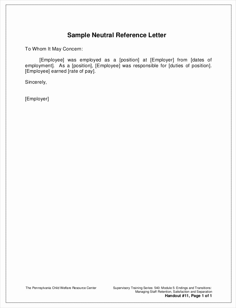 Reference Letter Template From Employer Best Of 18 Sample Reference Letter From Employer