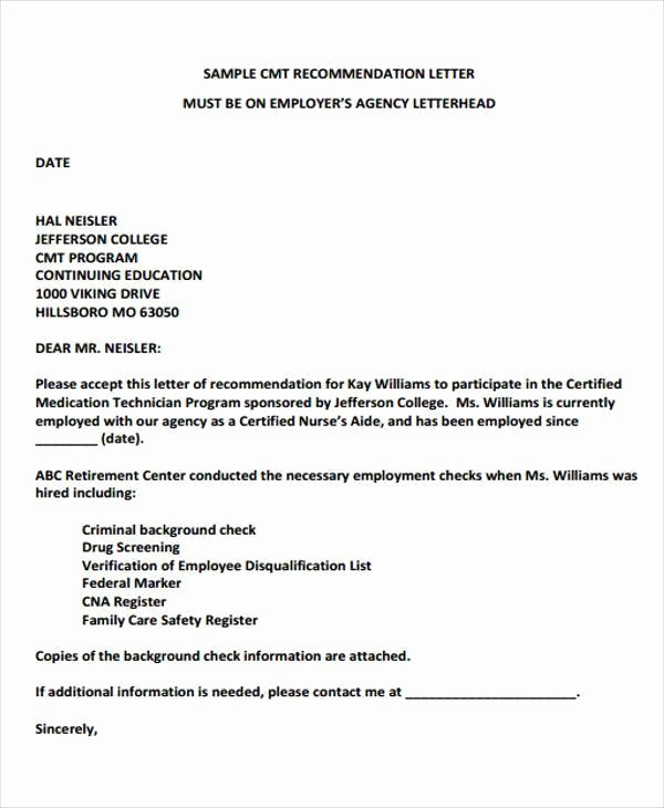 Reference Letter Template From Employer Elegant Example Re Mendation Letter for Staff Nurse