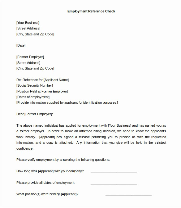 Reference Letter Template From Employer Fresh 42 Reference Letter Templates Pdf Doc