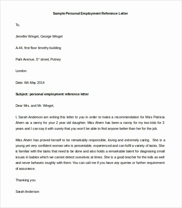 Reference Letter Template From Employer Lovely Personal Letter formats