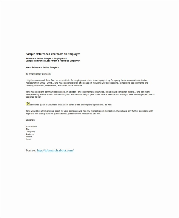 Reference Letter Template From Employer New 6 Sample Employer Re Mendation Letters