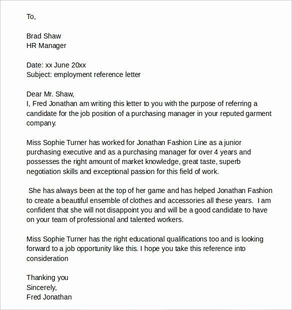 Reference Letter Template From Employer New 7 Sample Reference Letters for Job Download for Free