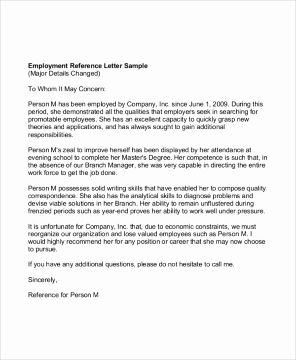 Reference Letter Template From Employer Unique 41 Sample Reference Letter Templates
