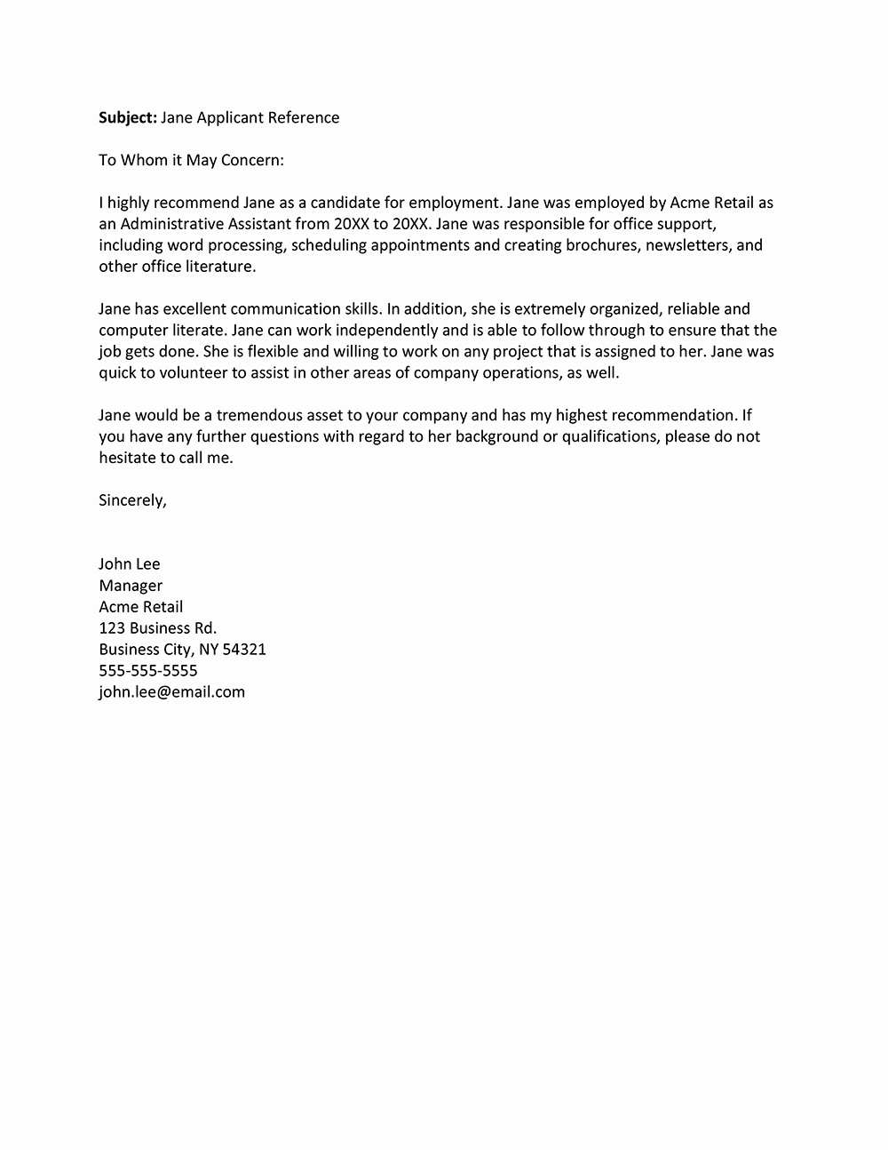Reference Letter Template From Employer Unique Job Re Mendation Email Job Re Mendation Letter