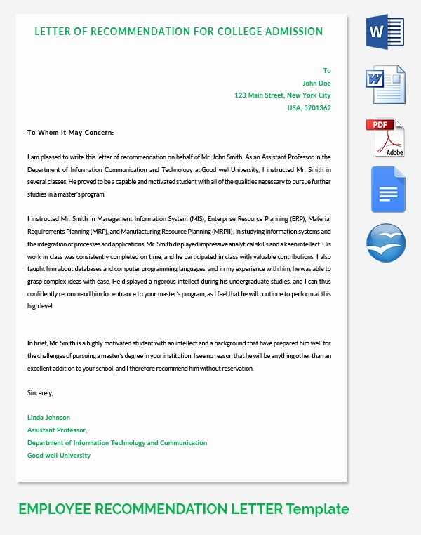 Reference Letters for College Admission Beautiful 20 Employee Re Mendation Letter Templates