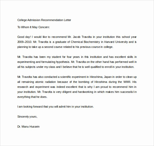 Reference Letters for College Admission Best Of Sample College Re Mendation Letter 14 Free Documents